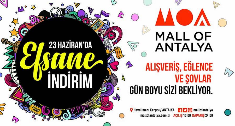 Mall of Antalya'da yüzlerce markada efsane fiyatlar 23 Haziran'da saat 10:00'dan 24:00 'a kadar ziyaretçileri bekliyor.