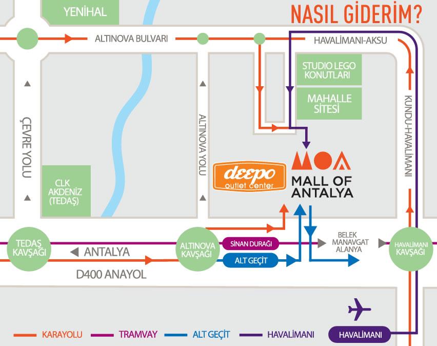 Mall Of Antalya & Deepo Outlet Araba ile nasıl gidilir?