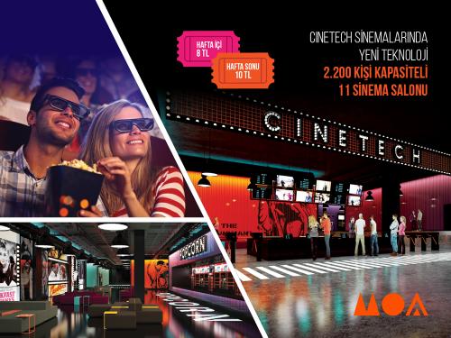 Dünya standartlarında film izleme keyfi, 2.200 kişi kapasiteli 11 salonlu Cinetech Sinemaları